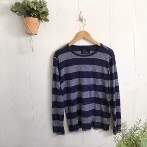 Express Gray And Navy Striped Long sleeve Shirt!